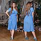 """Женское летнее платье в больших размерах 1059 """"Софт Горошек Запах Волан"""" в расцветках, фото 3"""