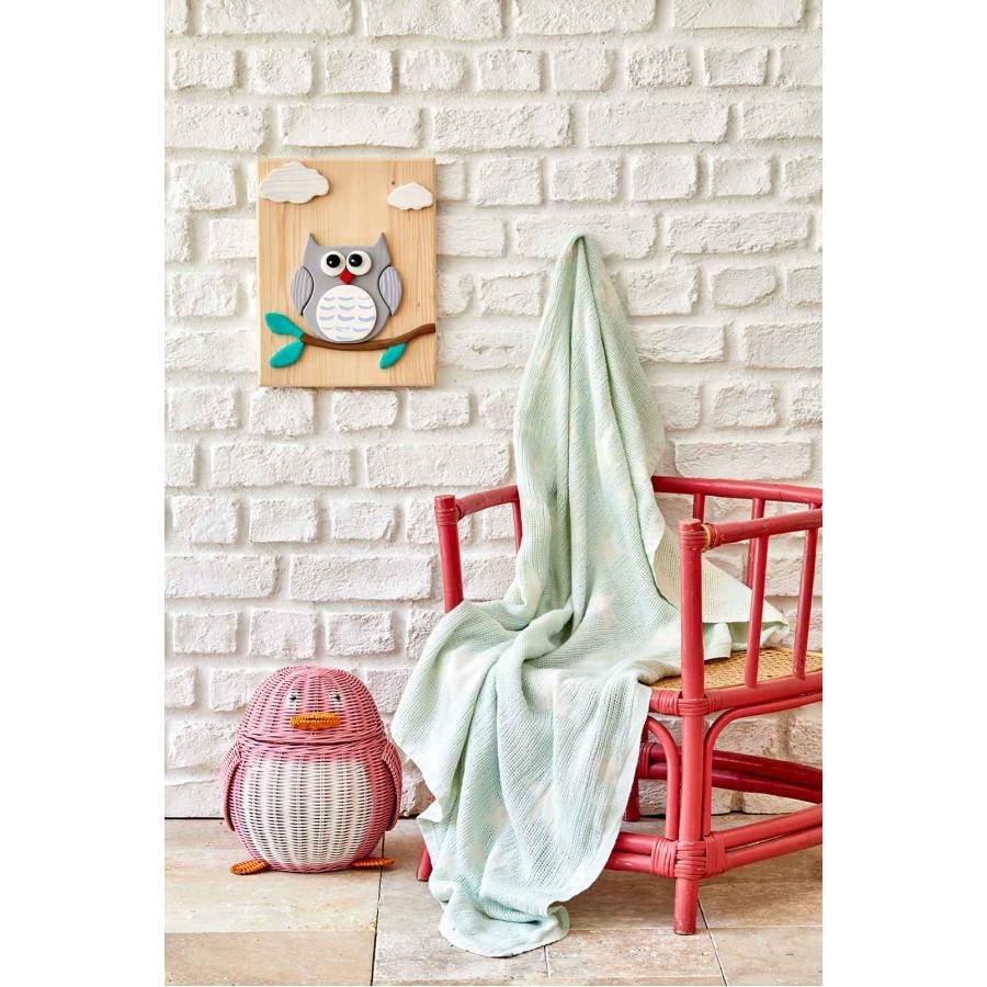Детское покрывало пике Karaca Home - Baby star yesil зеленый 80*120