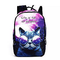 Городской рюкзак галактика(космос) с котом в очках.