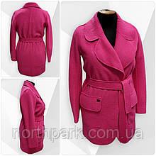 Весняне жіноче пальто кардіган Solo з поясом, фуксія