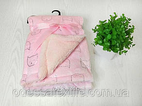Плед в ліжечко або коляску рожевий