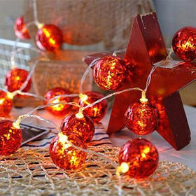 Гирлянда ColorWay Светодиодная Christmas lights ball 6 см 20 LED 3 м USB Red (CW-MC-LB20U)
