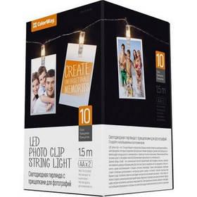 Украшение декоративное ColorWay 10 LED, 1.5м, гирлянда с прищепками (CW-LCP-10L15B)