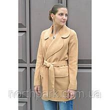 Весняне жіноче пальто кардіган Solo з поясом, пісочний