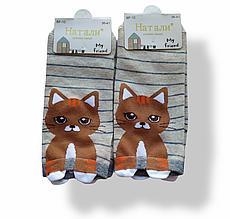 Шкарпетки жіночі з принтом короткі бежеві розмір 36-41
