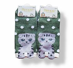Шкарпетки жіночі з принтом зелені короткі розмір 36-41