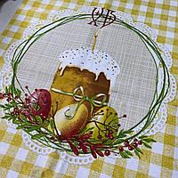 Готовий бавовняний рушник з паскою, яйцями у жовту клітинку 45х60 см, фото 1
