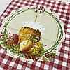 Готовое хлопковое полотенце с паской, яйцами в красную клеточку 45х60 см