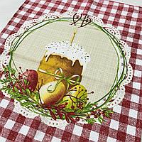 Готовое хлопковое полотенце с паской, яйцами в красную клеточку 45х60 см, фото 1