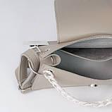 Пудровая жіноча міні сумка K22-21/3 рожева крос-боді на плече з ремінцем і маленьким ланцюжком, фото 4