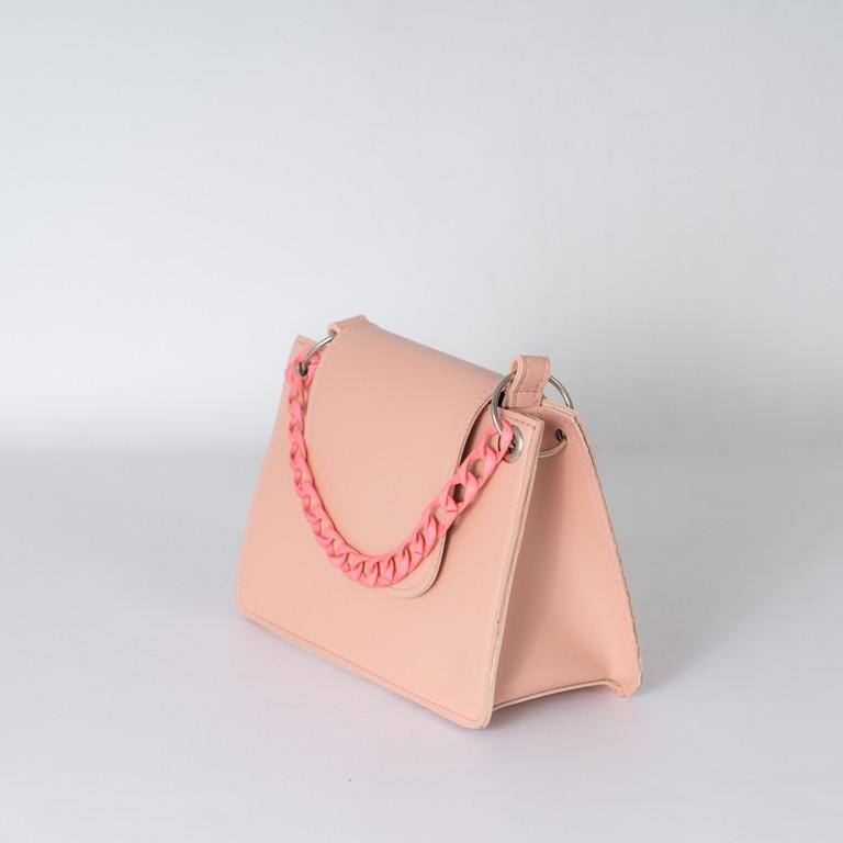 Пудровая жіноча міні сумка K22-21/3 рожева крос-боді на плече з ремінцем і маленьким ланцюжком