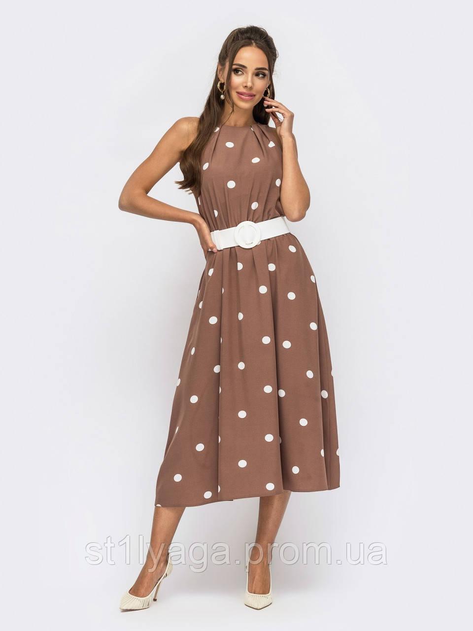 Сукня довжиною міді в горох ЛІТО
