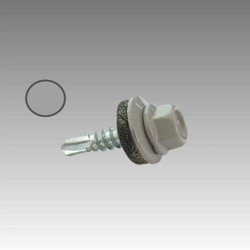 Саморез с шест. гол. с шайб. EPDM 4,8*19 DIN 7504K RAL 9006 со св. по мет. (ящ. 2400 шт.) бело-алюминиевый