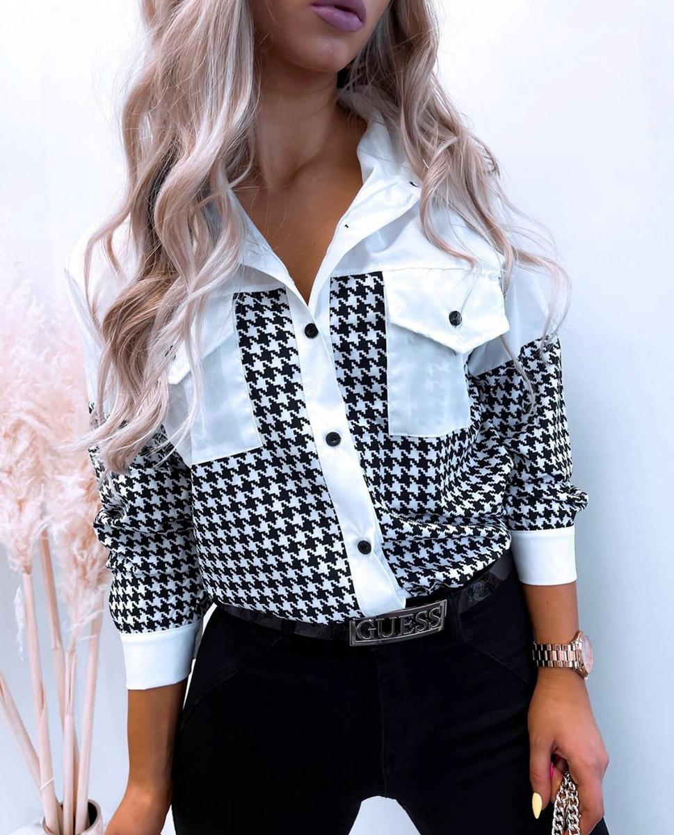 """Женская рубашка 803 """"Софт Гусиная Лапка Комби"""" в разных расцветках"""