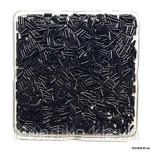 Бисер Стеклярус, 6.5~7мм, Цвет: Черный (50 грамм)