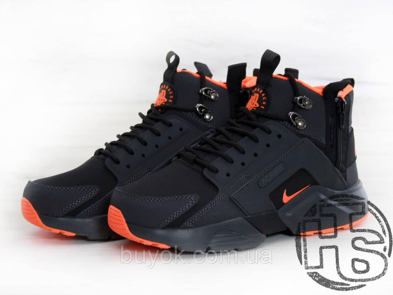 Мужские кроссовки Nike Air Huarache x ACRONYM City MID LEA Black/Orange 856787-107