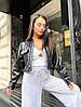 Жіноча стильна коротка куртка сорочка з еко-шкіри