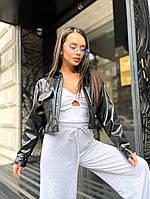 Жіноча стильна коротка куртка сорочка з еко-шкіри, фото 1