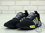 """Чоловічі кросівки Adidas NMD x Off-White """"Virgil"""" Black/Yellow BA7787, фото 3"""