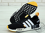 "Чоловічі кросівки Adidas NMD R1 x Off-White ""Nast"" Black/White/Orange BA8860, фото 3"