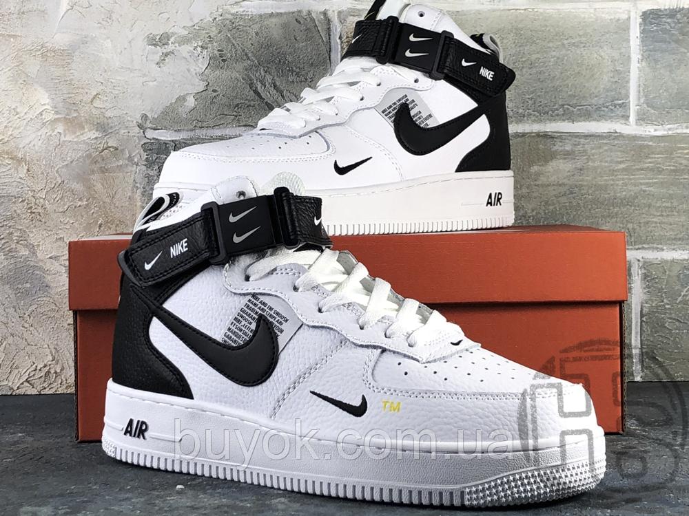 Женские кроссовки Nike Air Force 1 Mid Utility White Black (с мехом) 804609-103