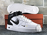 Женские кроссовки Nike Air Force 1 Mid Utility White Black (с мехом) 804609-103, фото 2