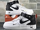 Женские кроссовки Nike Air Force 1 Mid Utility White Black (с мехом) 804609-103, фото 3