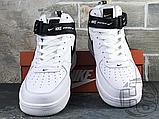 Женские кроссовки Nike Air Force 1 Mid Utility White Black (с мехом) 804609-103, фото 4