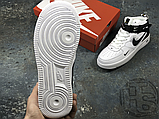 Женские кроссовки Nike Air Force 1 Mid Utility White Black (с мехом) 804609-103, фото 5