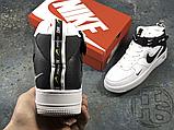 Женские кроссовки Nike Air Force 1 Mid Utility White Black (с мехом) 804609-103, фото 7