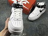 Женские кроссовки Nike Air Force 1 Mid Utility White Black (с мехом) 804609-103, фото 8