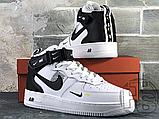 Женские кроссовки Nike Air Force 1 Mid Utility White Black (с мехом) 804609-103, фото 9