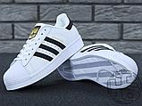 Жіночі кросівки Adidas Superstar White Black C77153, фото 3