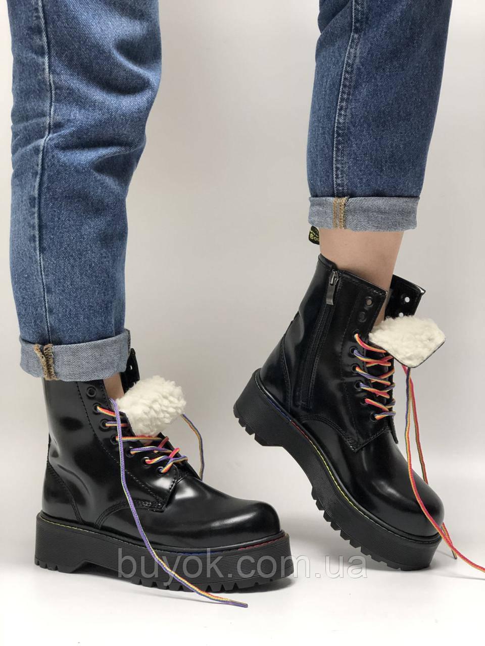 Зимові жіночі черевики Dr. Martens Jadon Rainbow з хутром (жіночі Ін Мартенс Джейдон Веселка)