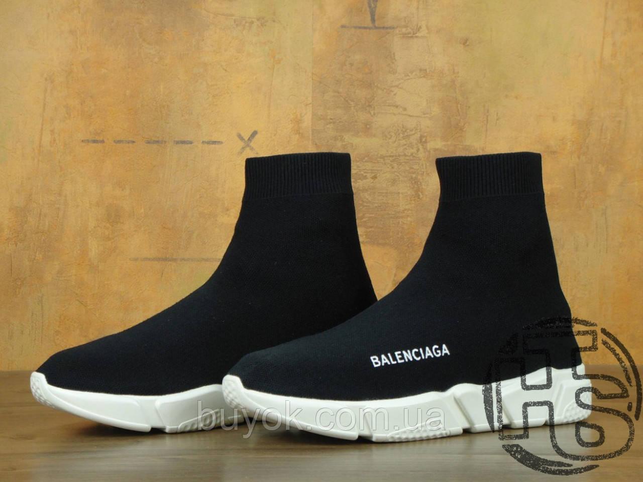 Мужские кроссовки Balenciaga Knit High-Top Sneakers Black/White 504880899