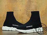 Мужские кроссовки Balenciaga Knit High-Top Sneakers Black/White 504880899, фото 4
