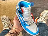 Чоловічі кросівки Air Jordan 1 Retro High Off-White University Blue AQ0818-148, фото 2