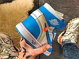 Чоловічі кросівки Air Jordan 1 Retro High Off-White University Blue AQ0818-148, фото 5