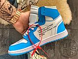 Чоловічі кросівки Air Jordan 1 Retro High Off-White University Blue AQ0818-148, фото 6