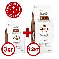 Brit Care Weight Loss Rabbit & Rice 12кг+3кг корм для собак з надмірною вагою