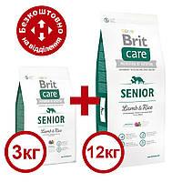 Brit Care Senior lamb & Rice 12кг+3кг корм з ягням для старіючих собак