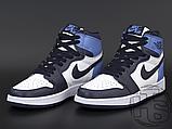 Женские кроссовки Air Jordan 1 Retro High Obsidian UNC White Blue 555088-140, фото 2