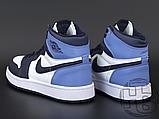 Женские кроссовки Air Jordan 1 Retro High Obsidian UNC White Blue 555088-140, фото 3