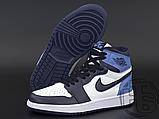 Женские кроссовки Air Jordan 1 Retro High Obsidian UNC White Blue 555088-140, фото 5