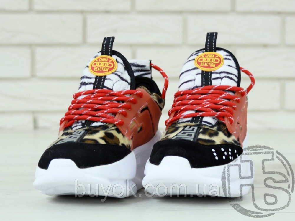 Жіночі кросівки Versace Chain Reaction 2 Chainz Spotted/Black Red DSU7071 D15VG