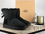 Женские угги UGG Mini Bailey Bow II Boot Black 1005062, фото 3