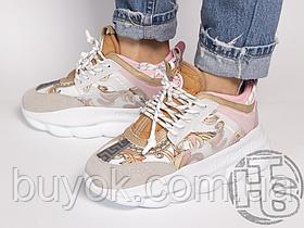 Жіночі кросівки Versace Chain Reaction Oro Bianco Pink Shell DSR705G-DICTG_DB5OS