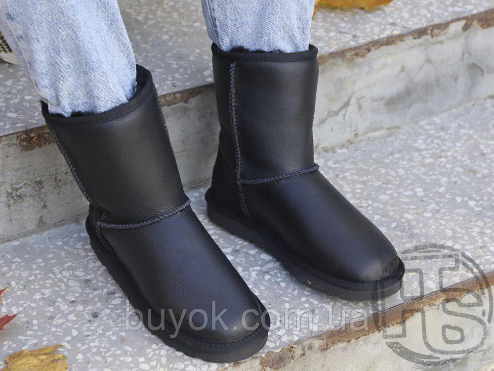 Жіночі чоботи UGG Classic Short Leather Boot Black 1016559