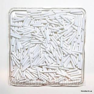 Бисер Стеклярус, 15×2мм, Цвет: Белый (50 грамм)