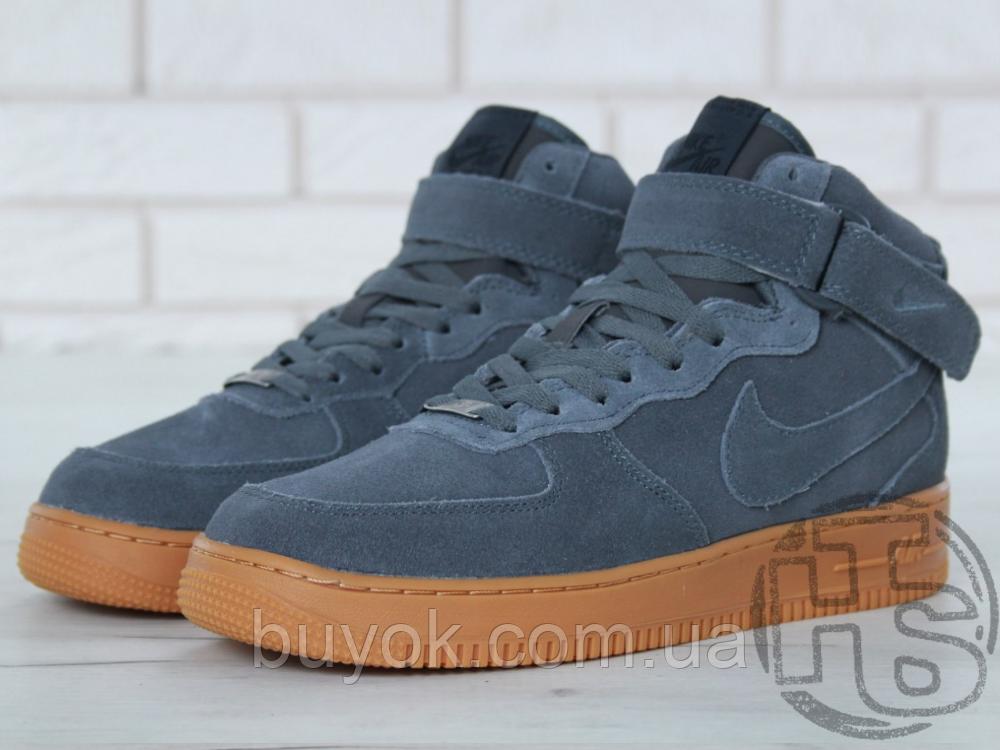 Чоловічі кросівки Nike Air Force 1 High Gray Gum (з хутром) 749263-001